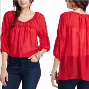 Anthropologie Vanessa Virginia Silvi Silk Blouse S